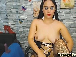 Asian Looking Trans Rubbing Her Cock shemale