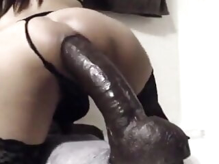 Trans whore riding huge dildo with slow motions clips ladyboy amateur big ass