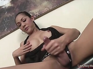 Thai Ladyboy Oom Strokes Her Juicy Cock jerking off thai shemale
