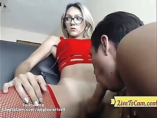 Hot TS cums while getting blowjob big dick cum big load