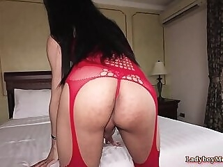 Thai Shemale Swan Fucks Bareback Lucky Guy anal ass licking rimjob