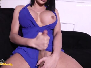 Kimberlee Blue Dress Cock Out - TS-KimberLee shemale big tits shemale masturbation shemale mature